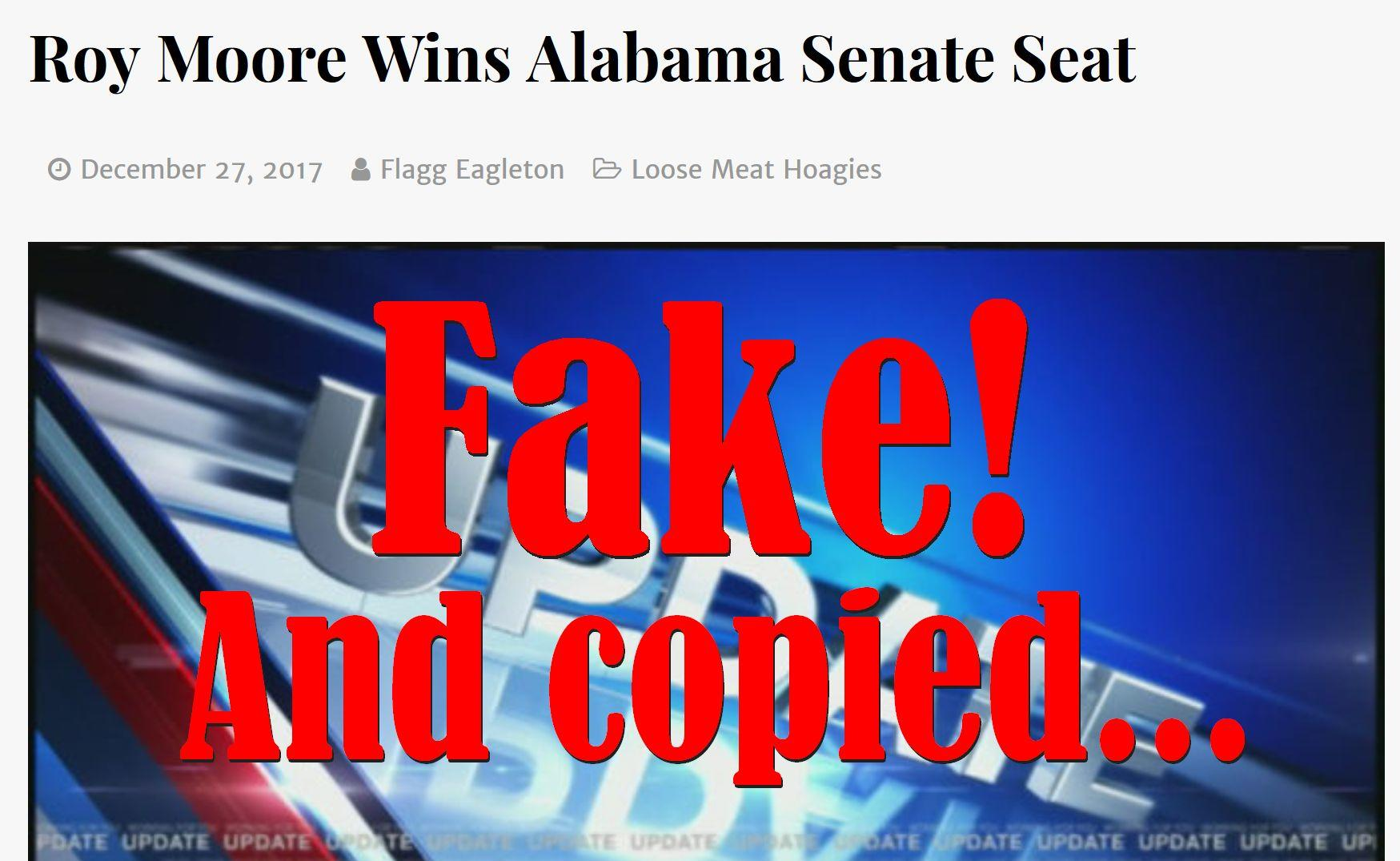 Fake News: Roy Moore Did NOT Win Alabama Senate Seat