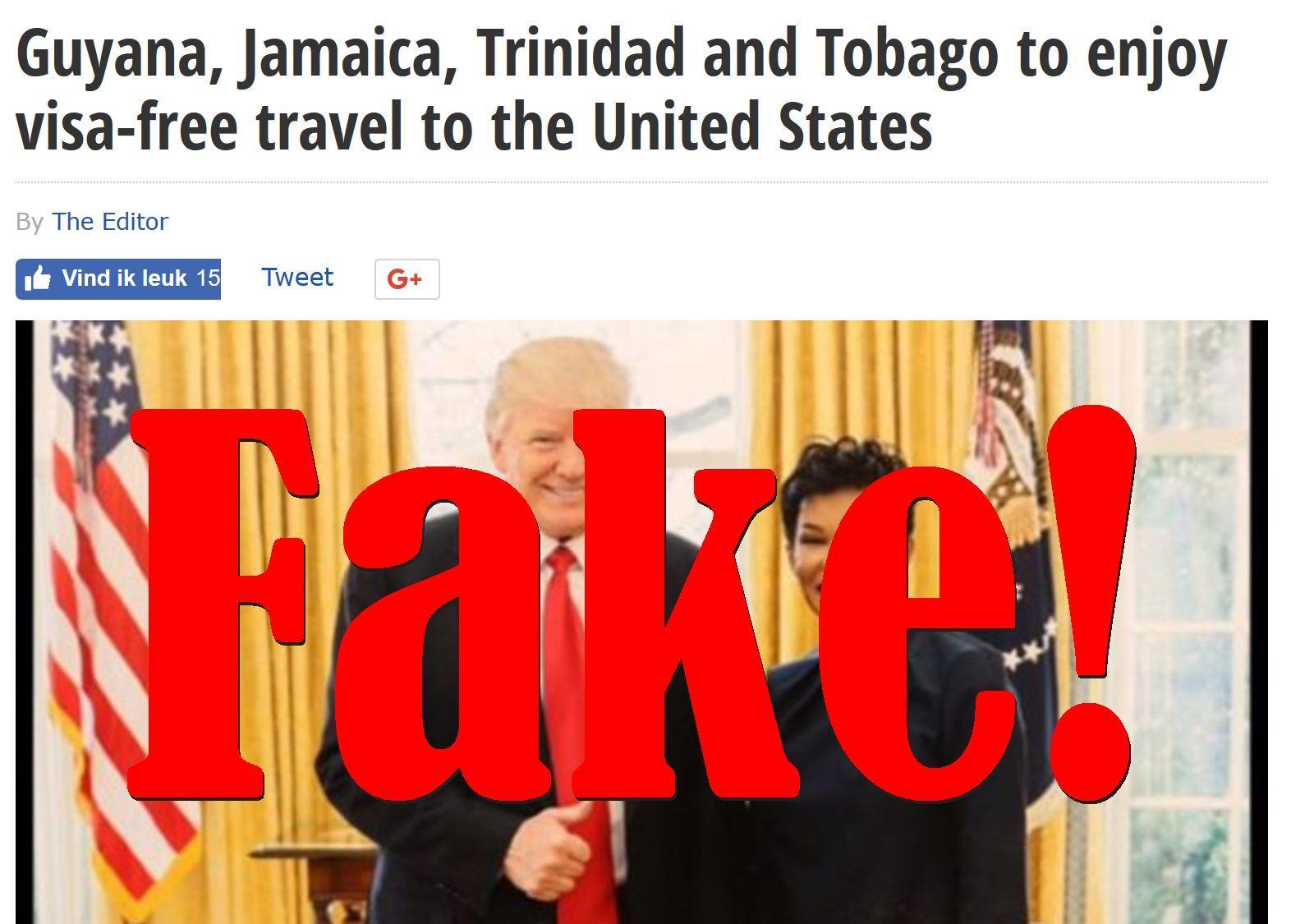 Fake News: Guyana, Jamaica, Trinidad and Tobago NOT To Enjoy Visa-free Travel To The United States