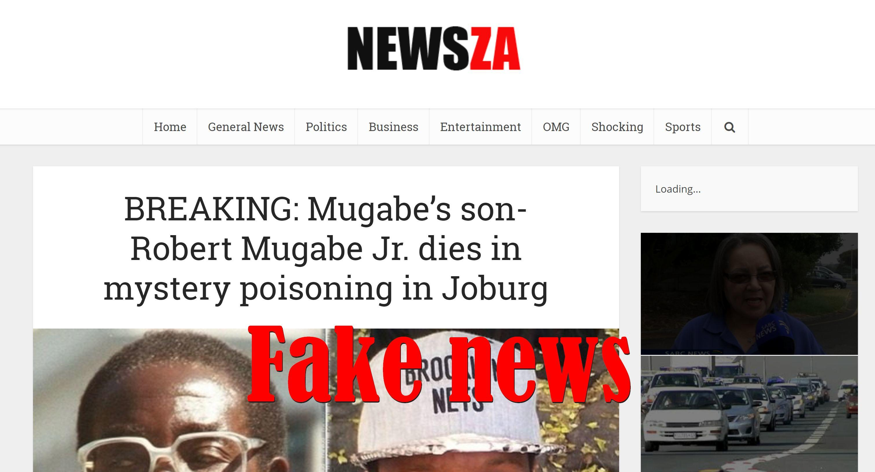 Fake News: Robert Mugabe's Son Did NOT Die In Mystery Poisoning In Joburg