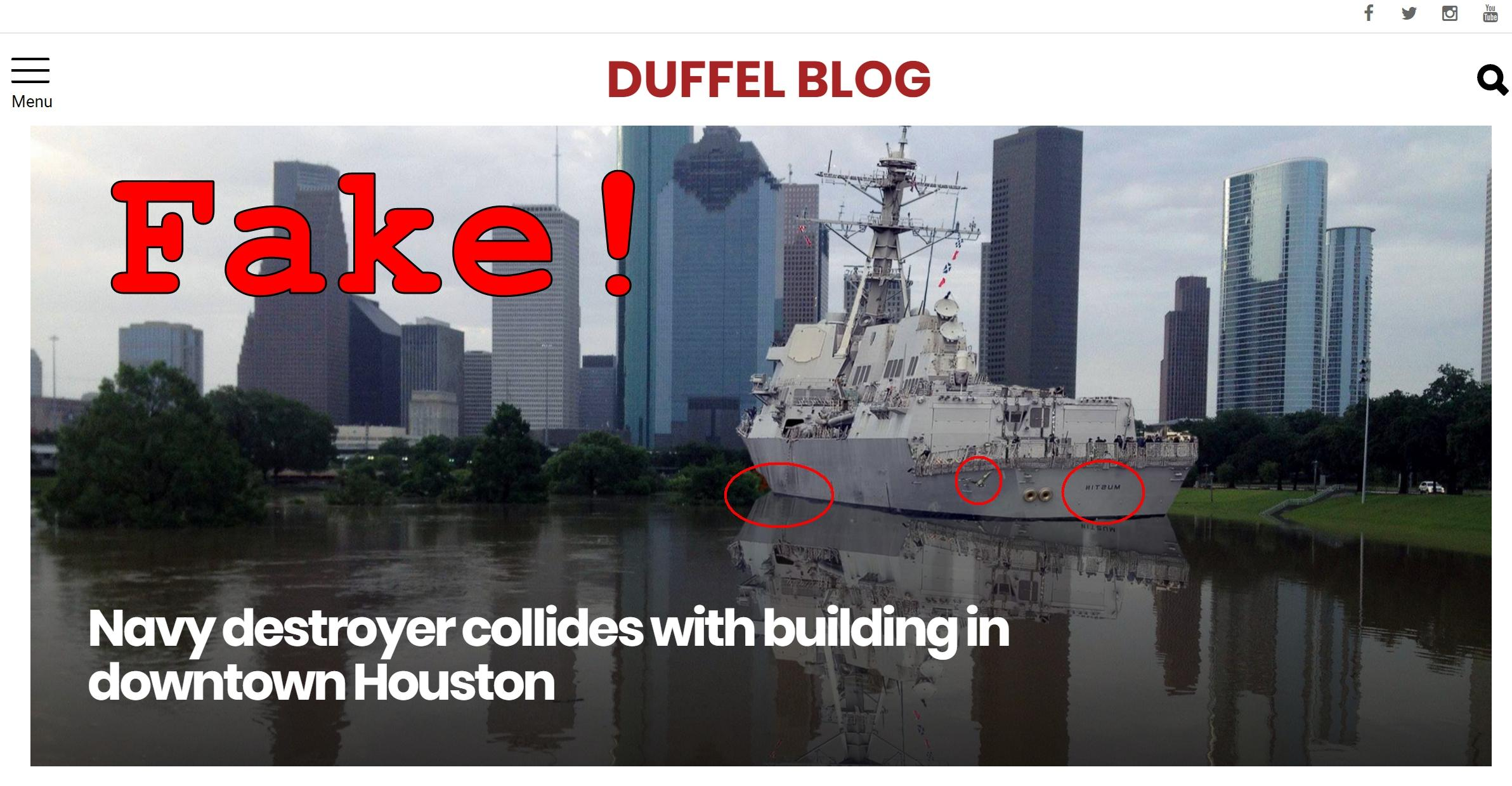 Fake News: Navy Destroyer Did NOT Collide With Building In Downtown Houston