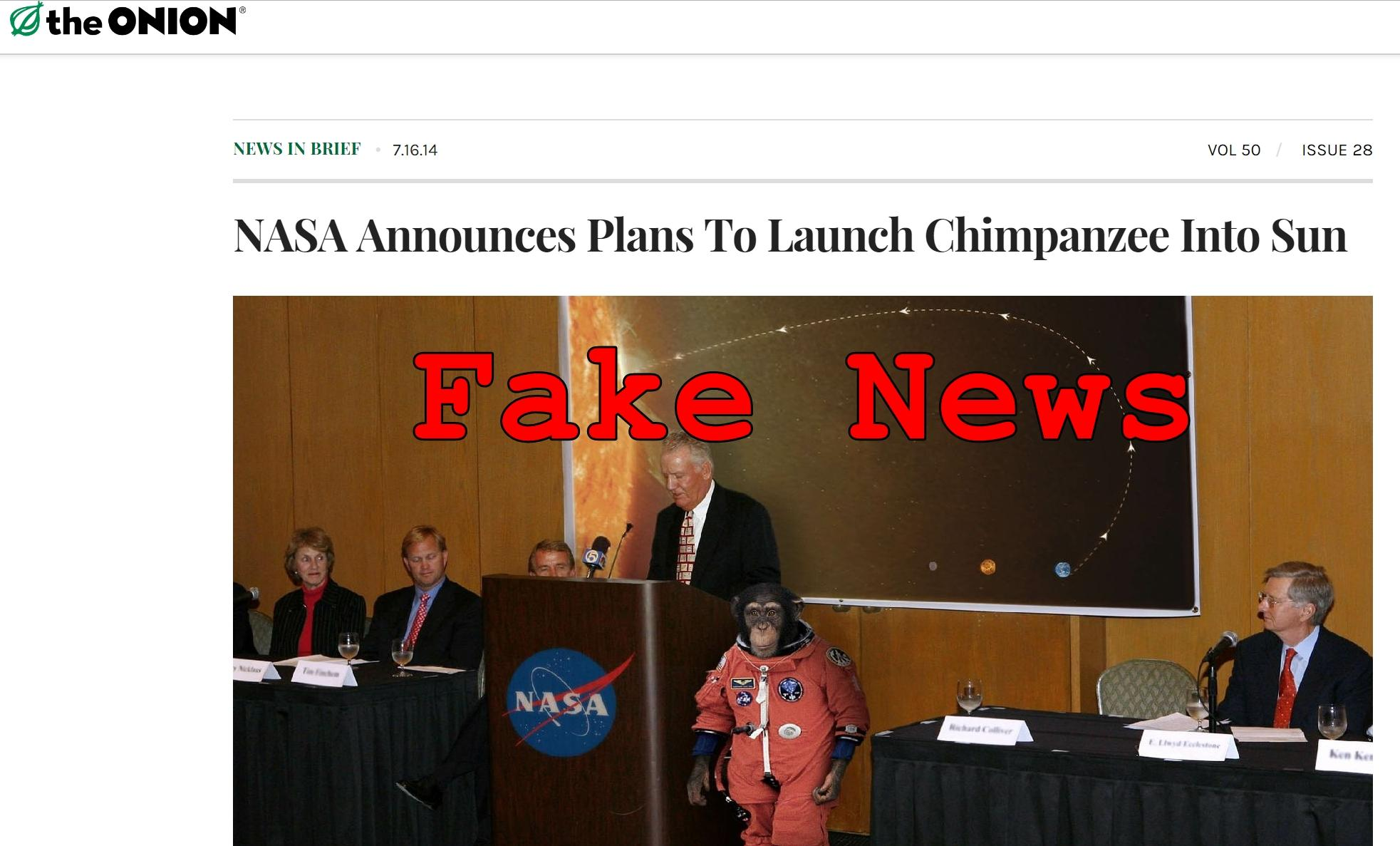 Fake News: NASA Did NOT Announce Plans To Launch Chimpanzee Into Sun
