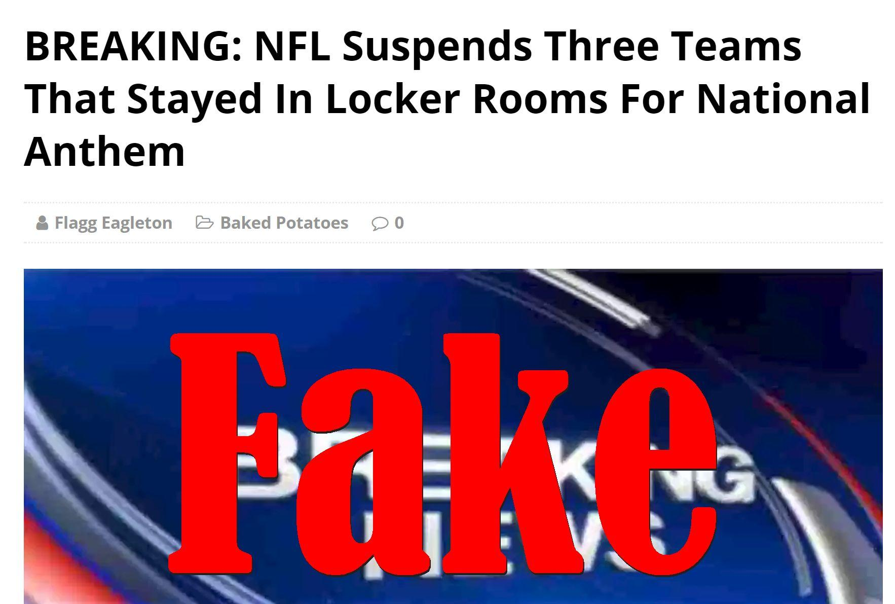 Fake News: NFL Did NOT Suspend Three Teams That Stayed In Locker Rooms For National Anthem