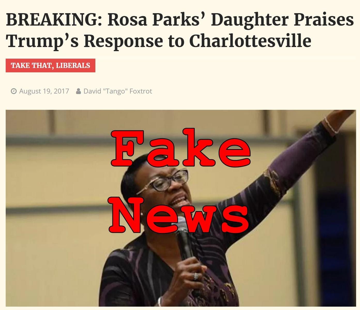 Fake News: Rosa Parks' Daughter DID Not Praise Trump's Response to Charlottesville