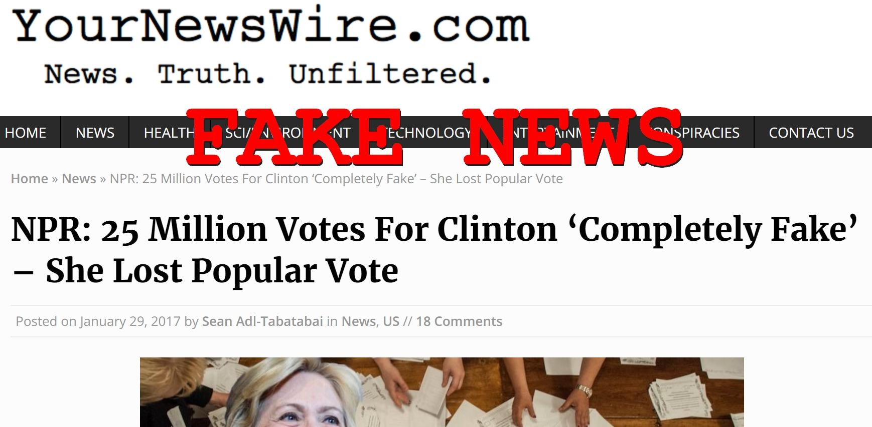 Fake News: NPR DID NOT Report 25 Million Votes For Clinton Are Completely Fake