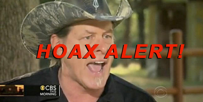 Hoax Alert: Ted Nugent DID NOT Say 'Those Homos Willingly Committed Suicide By Not Carrying Guns'