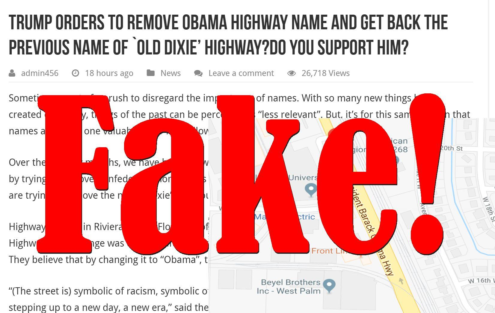 Fake News: Trump Did NOT Order Removal Of Obama Highway Name Back To Previous Name Old Dixie Highway
