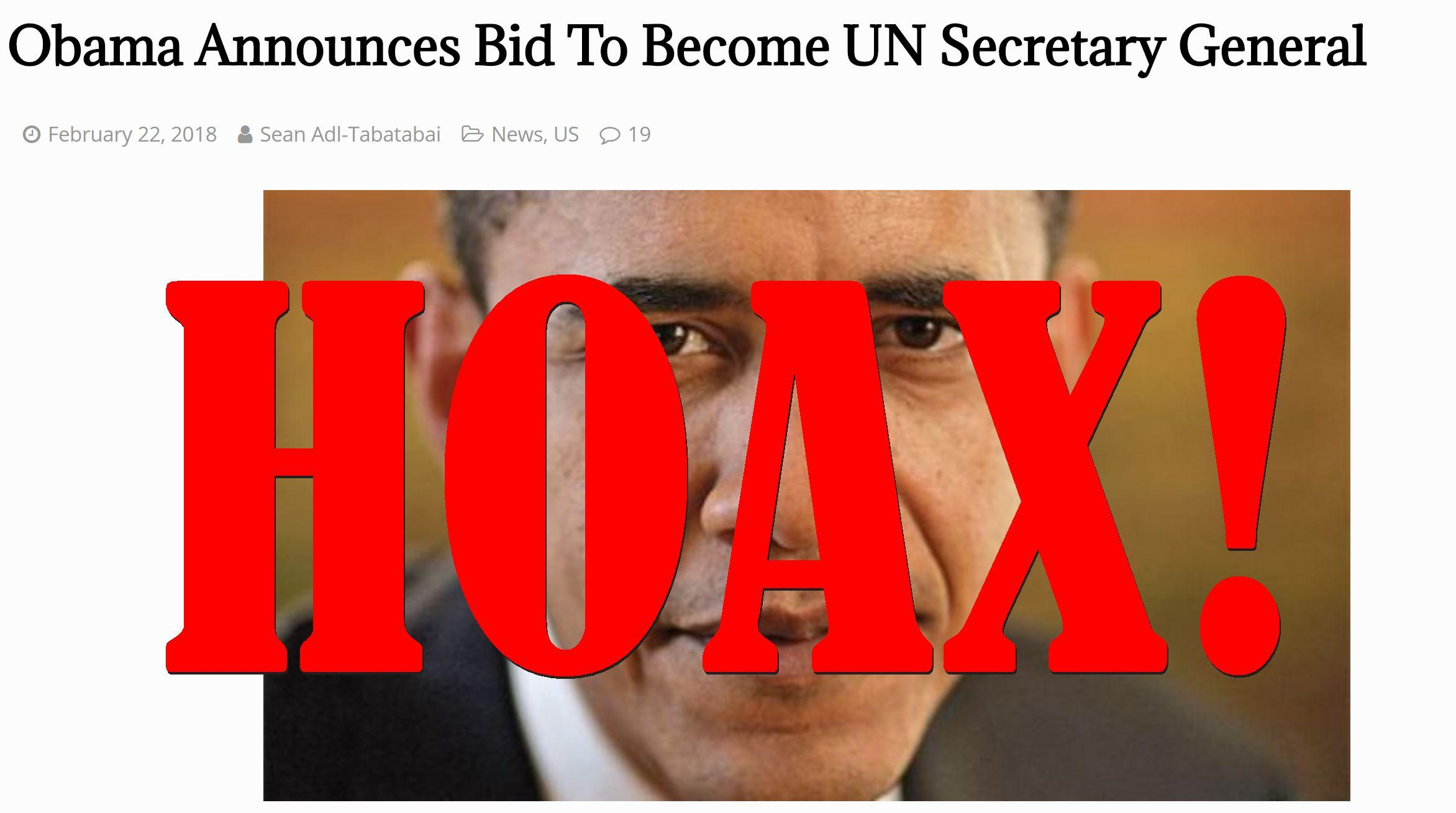 Fake News: Obama Did NOT Announce Bid To Become UN Secretary General