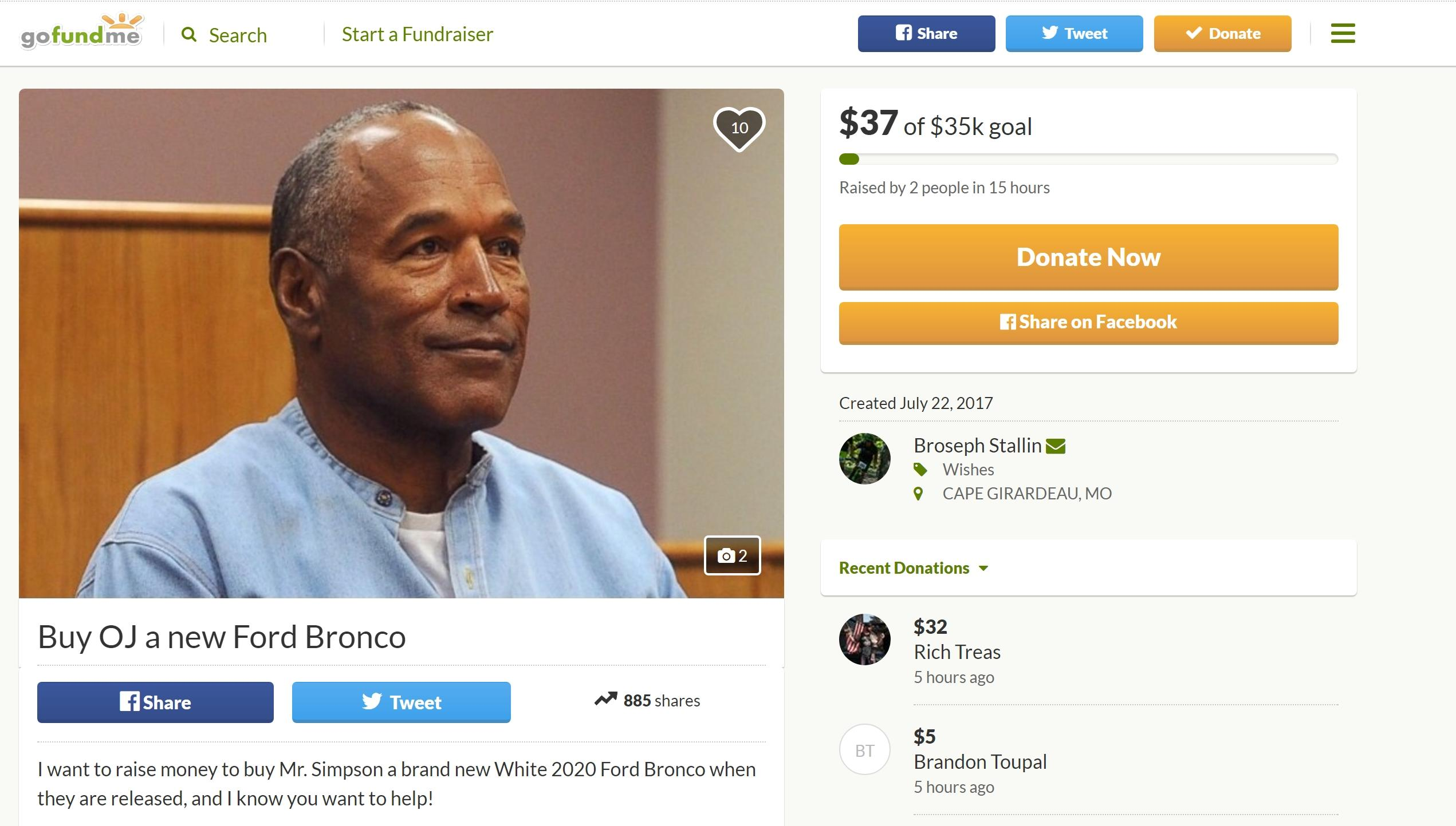 Fact Check: Somebody Actually Started A GoFundMe To Purchase O.J. Simpson A New Ford Bronco When He Gets Out