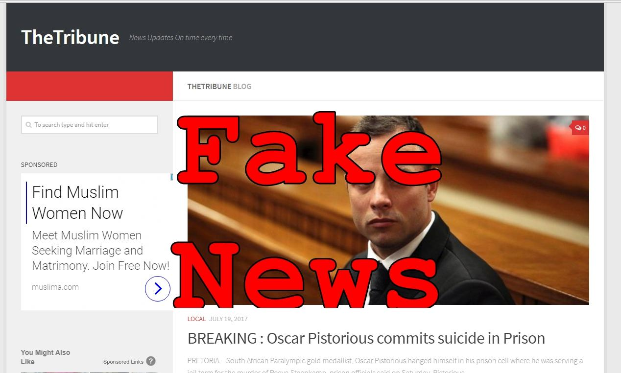 Fake News: Oscar Pistorious Did NOT Commit Suicide in Prison
