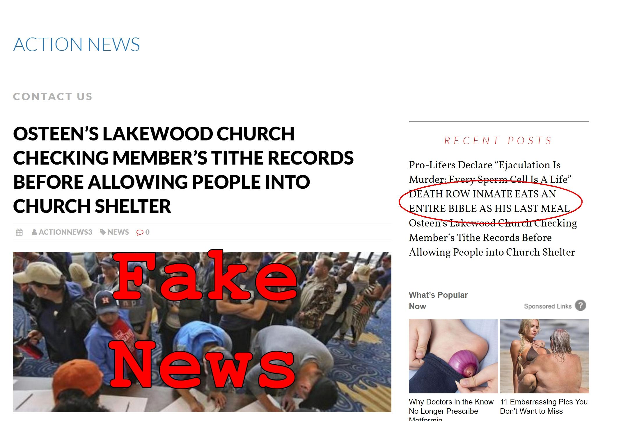 Fake News: Osteen's Lakewood Church NOT Checking Member's Tithe Records Before Allowing People into Church Shelter