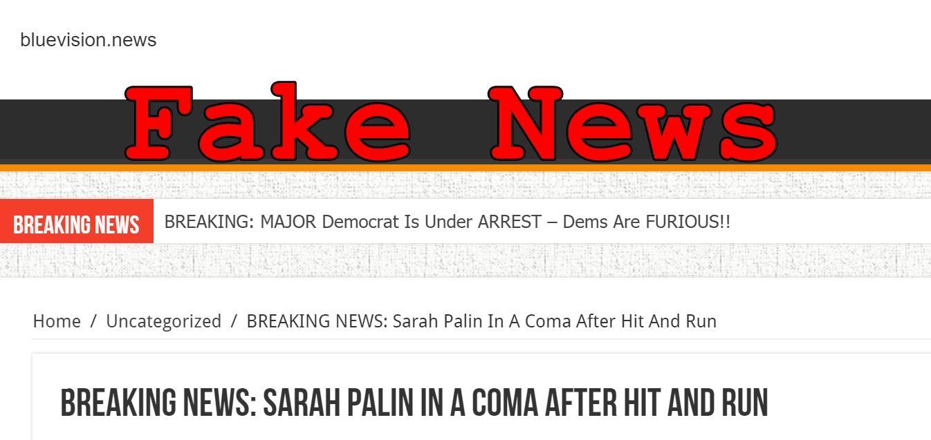 Sarah Palin Fake Naked Ideal fake news: sarah palin not in a coma after hit and run | lead stories