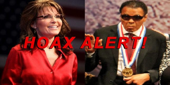 Hoax Alert: Sarah Palin DID NOT Say 'Muhammad Ali Is Proof That Black Muslims Are Violent'