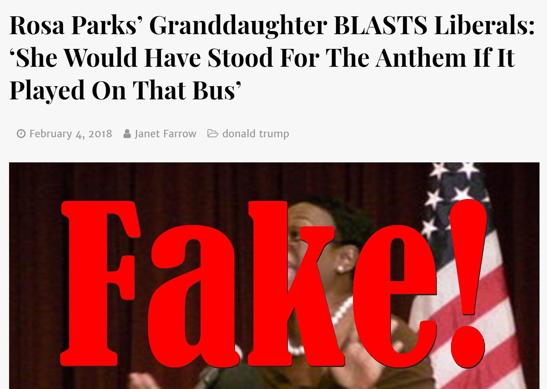 Fake News: Rosa Parks' Granddaughter Did NOT Blast Liberals, NEVER Said: 'She Would Have Stood For The Anthem If It Played On That Bus'