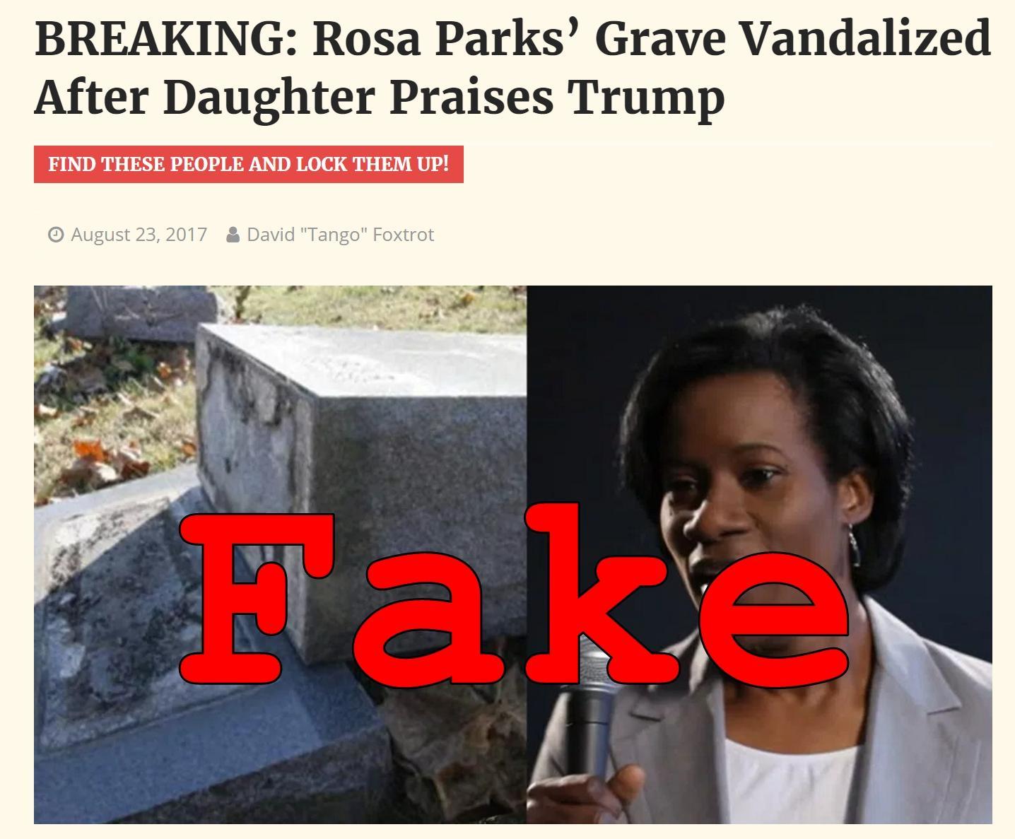 Fake News: Rosa Parks' Grave NOT Vandalized After Daughter Praises Trump