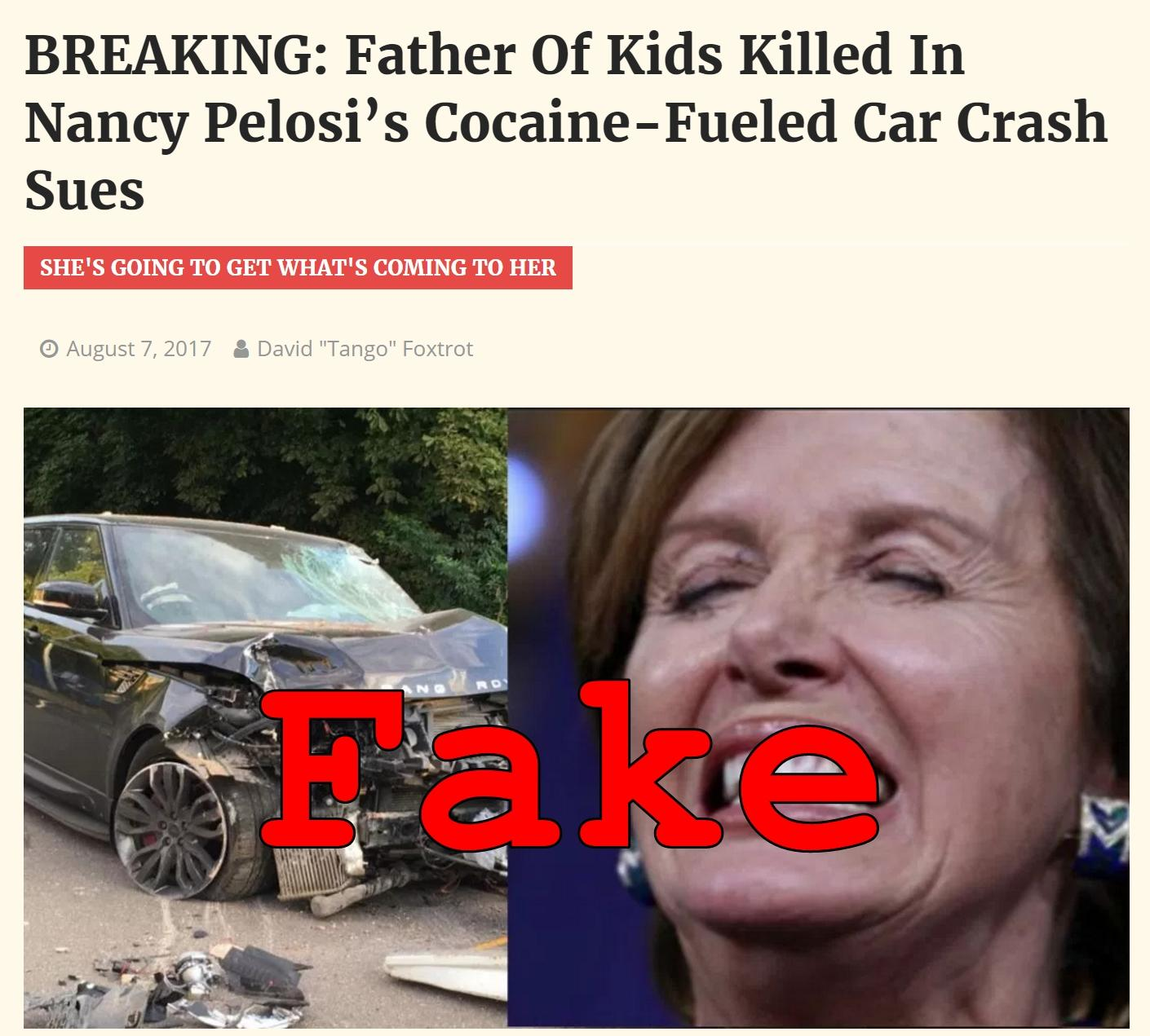 Fake News: Nancy Pelosi NOT In Cocaine Or Alcohol Fueled Car Crash