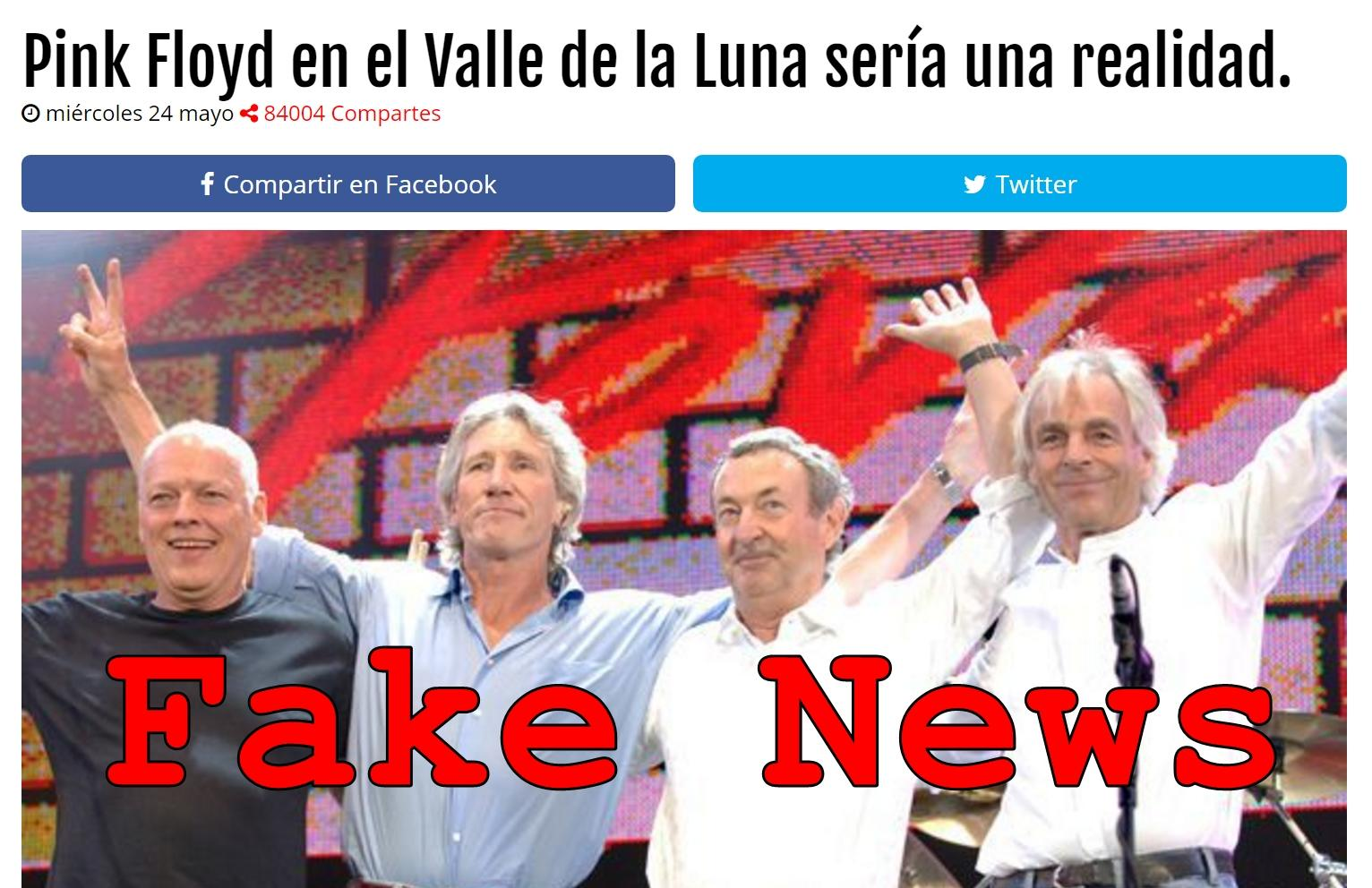Fake News: Pink Floyd NOT To Perform at Valle de la Luna