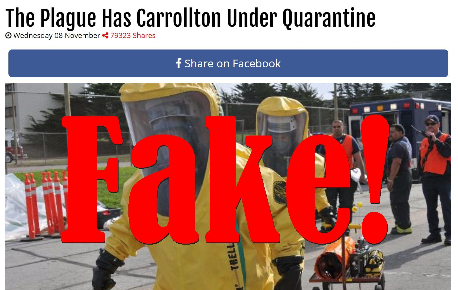 Fake News: The Plague Does NOT Have Carrollton Under Quarantine