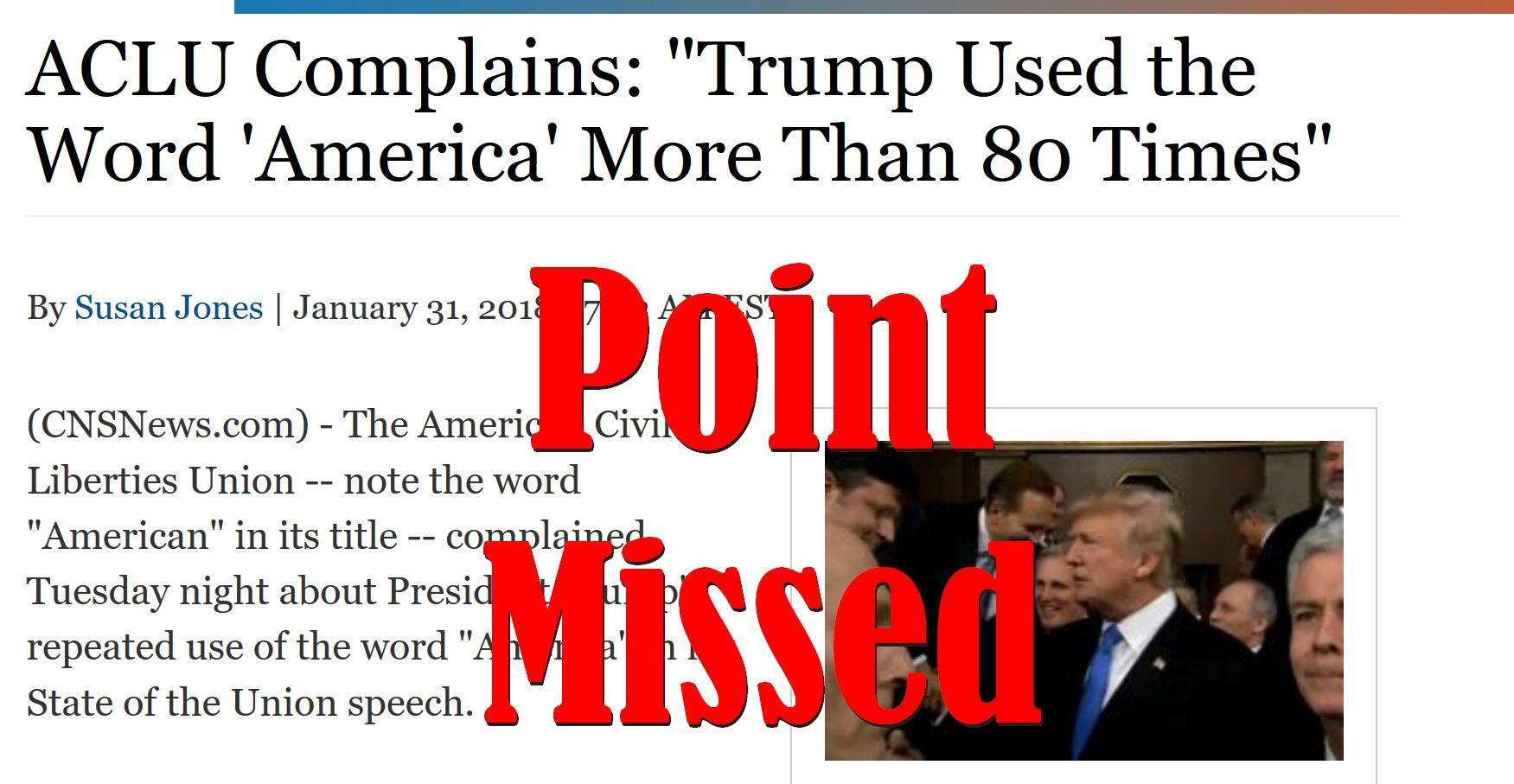 Fake News: ACLU Did NOT Complain Trump Used the Word 'America' More Than 80 Times