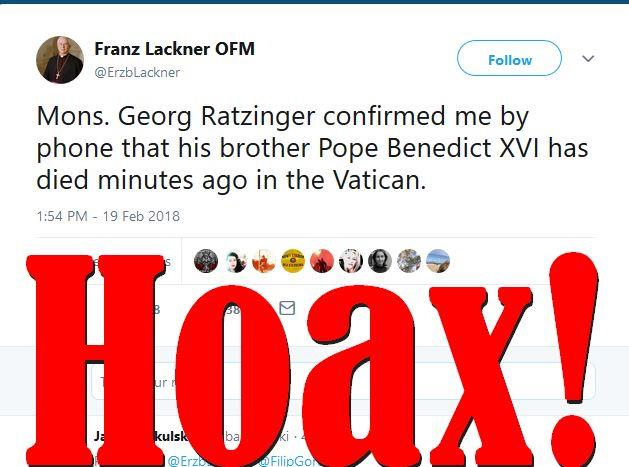 Fake News: Pope Benedict XVI Is NOT Dead