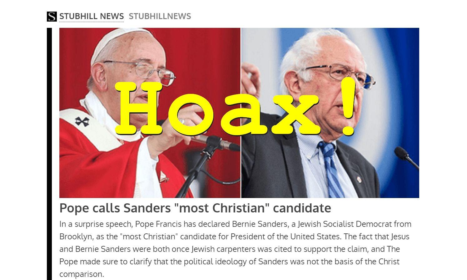 Hoax Alert: The Pope DID NOT Call Sanders Most Christian Candidate
