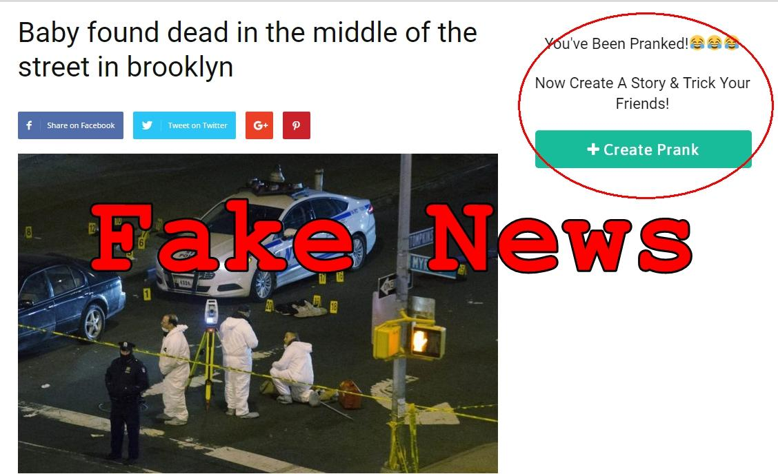 Fake News: Baby NOT Found Dead In The Middle Of The Street In Brooklyn