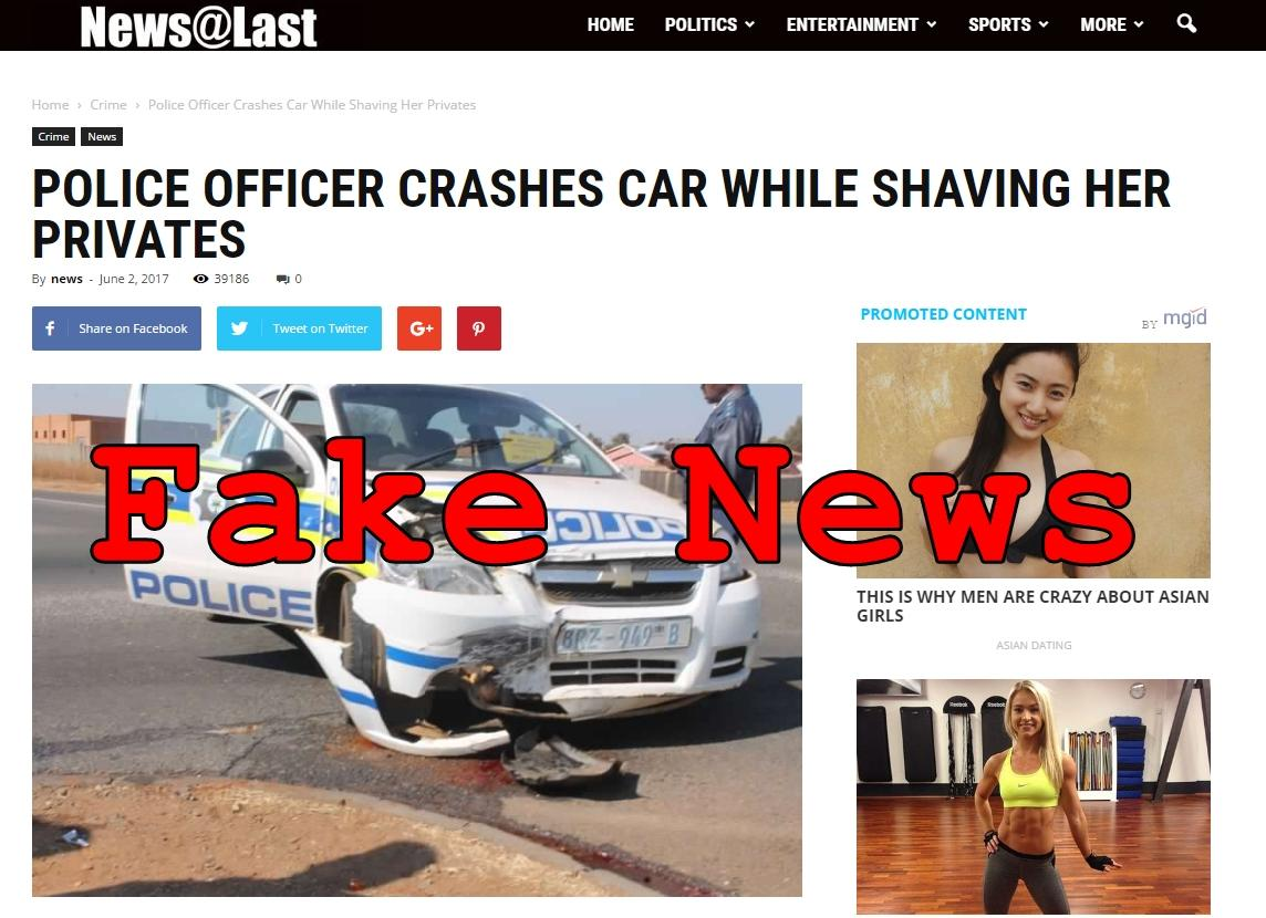 Fake News: Police Officer Did NOT Crash Car While Shaving Her Privates