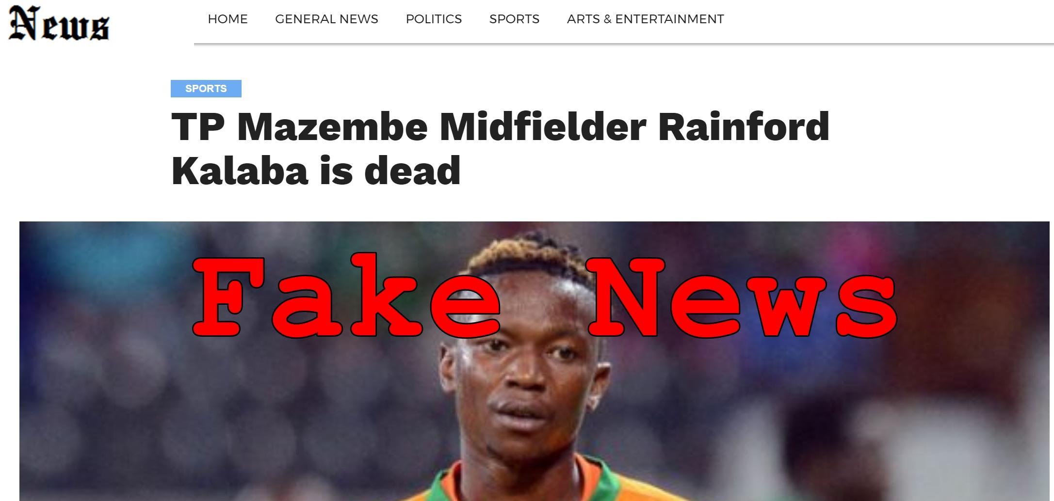 Fake News: TP Mazembe Midfielder Rainford Kalaba Is NOT Dead