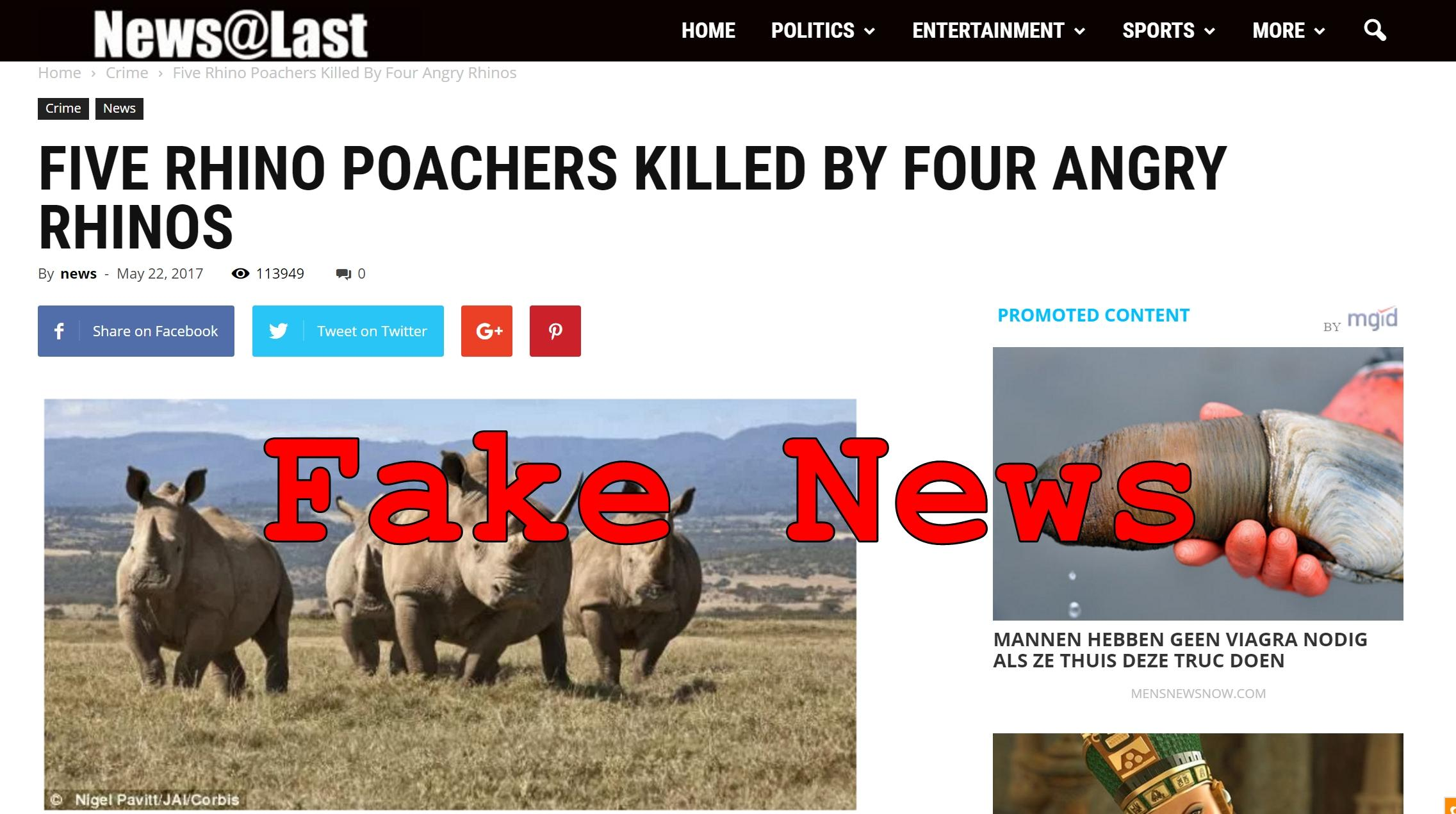 Fake News: Five Rhino Poachers NOT Killed By Four Angry Rhinos