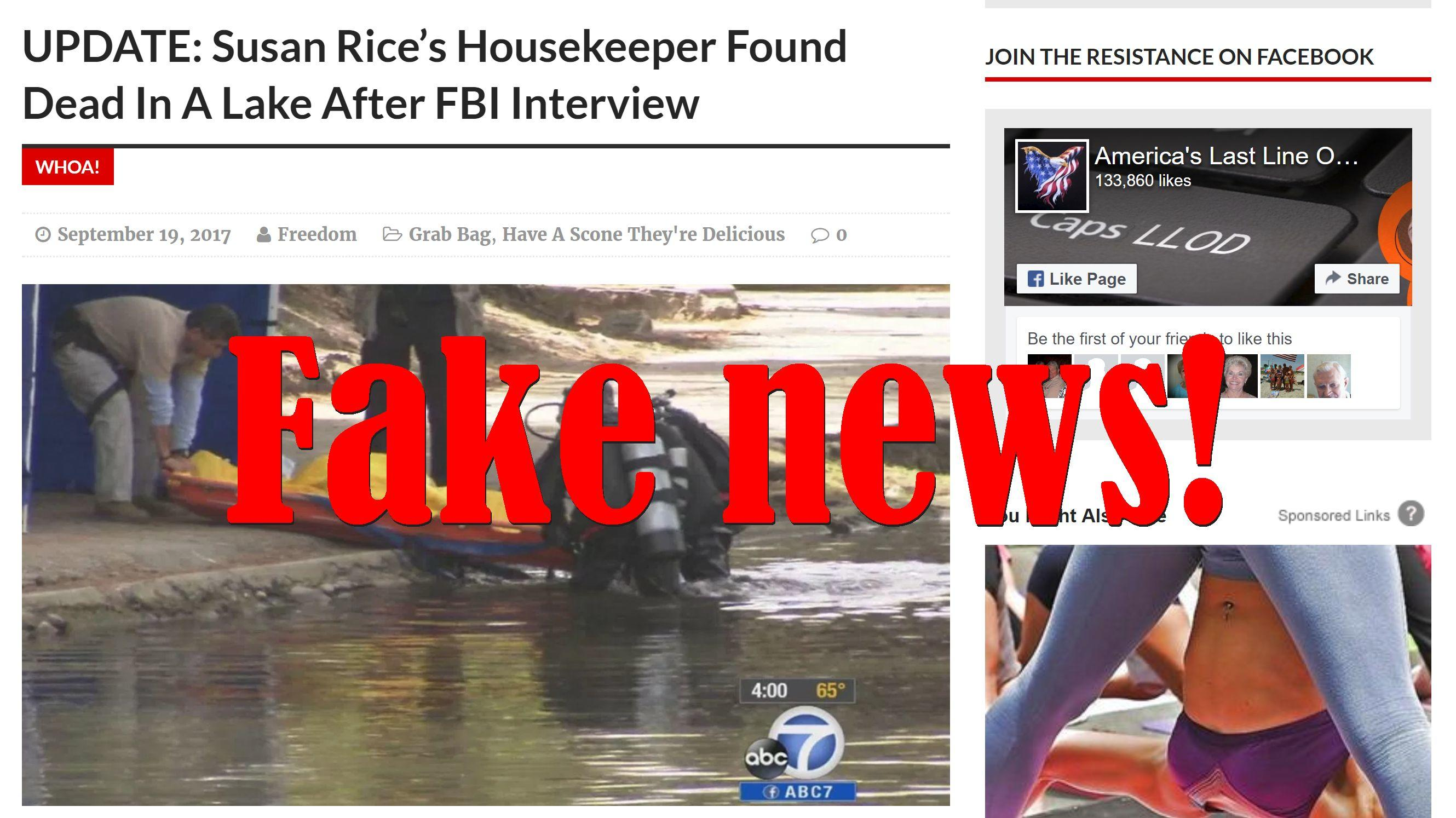 Fake News: Susan Rice Housekeeper NOT Found Dead In A Lake After FBI Interview