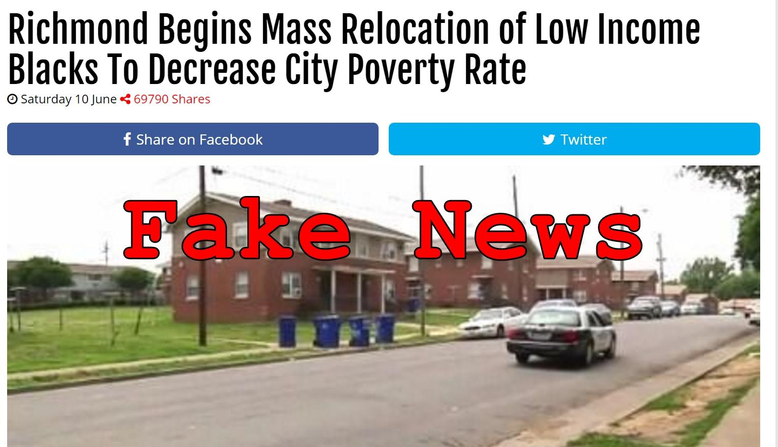 Fake News: Richmond Did NOT Begin Mass Relocation of Low Income Blacks To Decrease City Poverty Rate