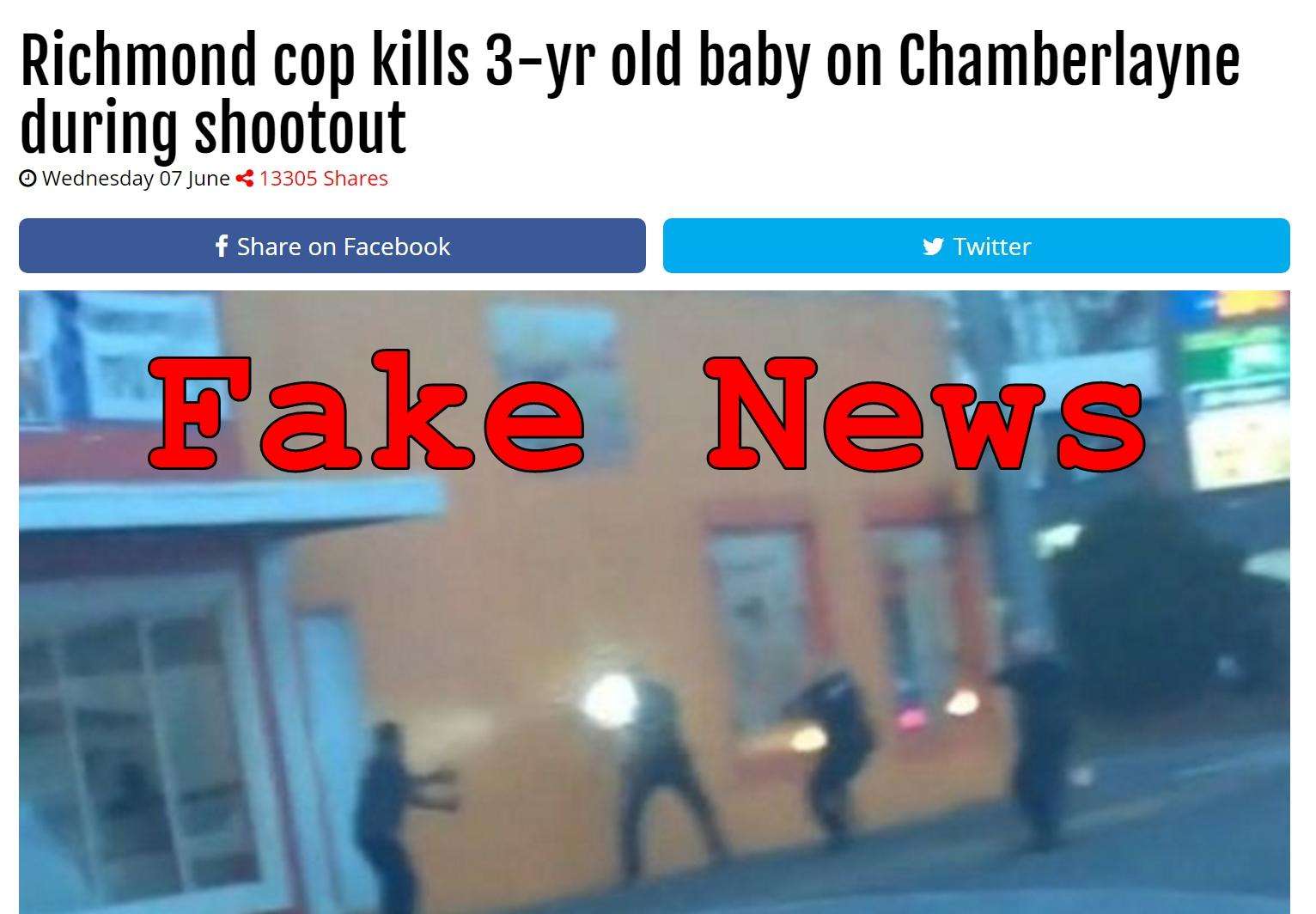 Fake News: Richmond Cop Did NOT Kill 3-yr Old Baby on Chamberlayne During Shootout