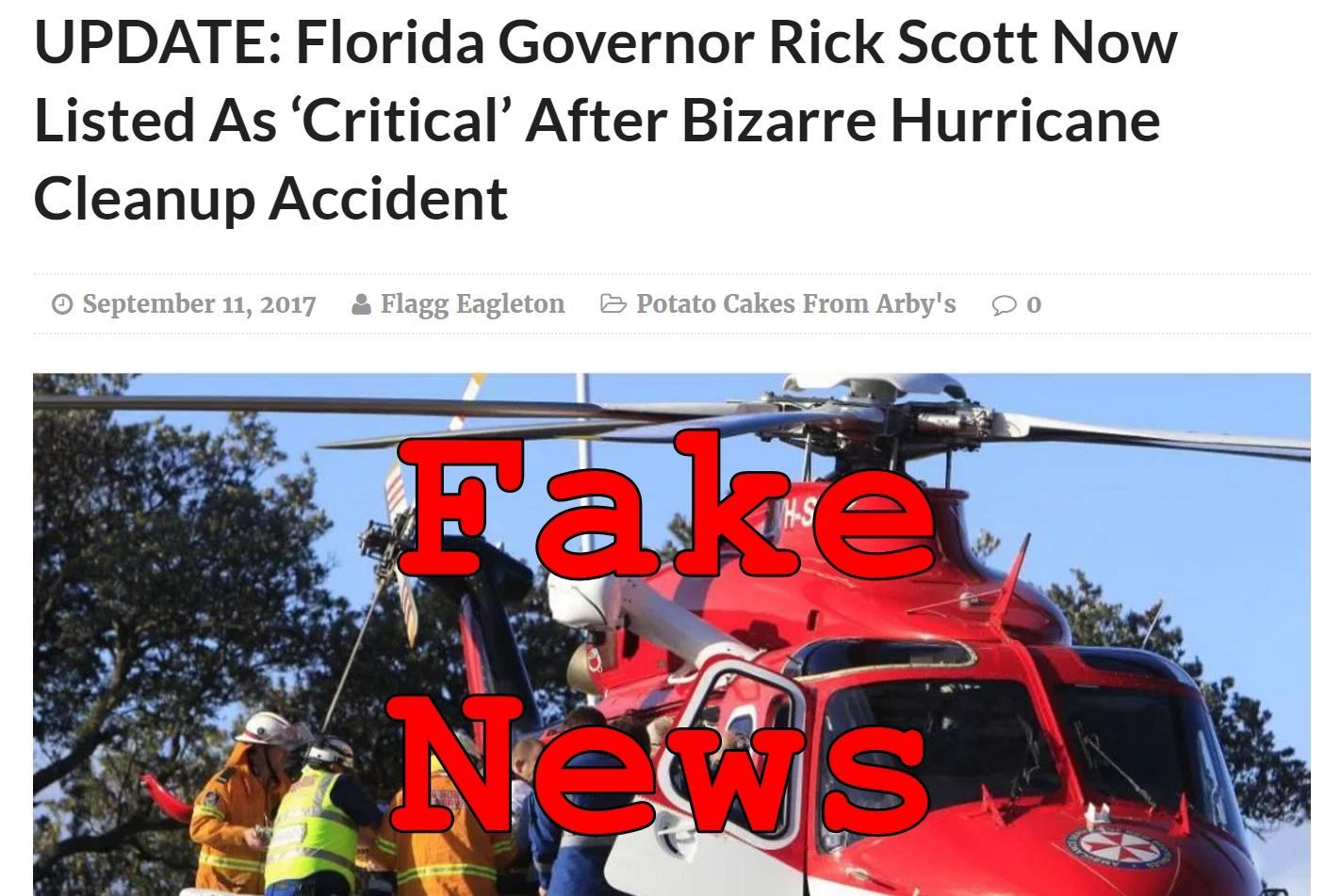 Fake News: Florida Governor Rick Scott NOT Listed As Critical After Bizarre Hurricane Cleanup Accident
