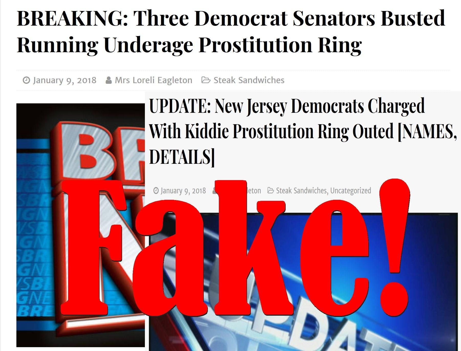 Fake News: NO Three Democrat Senators Busted Running Underage Prostitution Ring