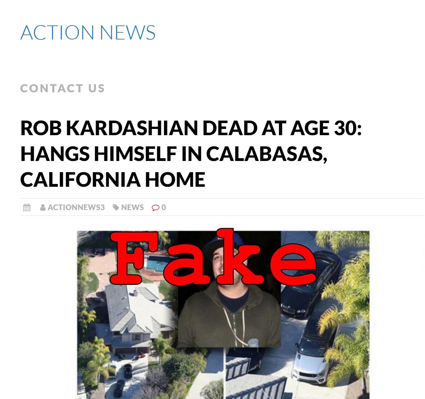 Fake News: Rob Kardashian NOT Dead At Age 30, Did NOT Hang Himself In Calabasas, California Home