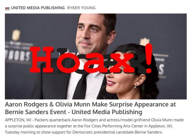 Hoax Alert: Aaron Rodgers & Olivia Munn DID NOT Make Surprise Appearance at Bernie Sanders Event