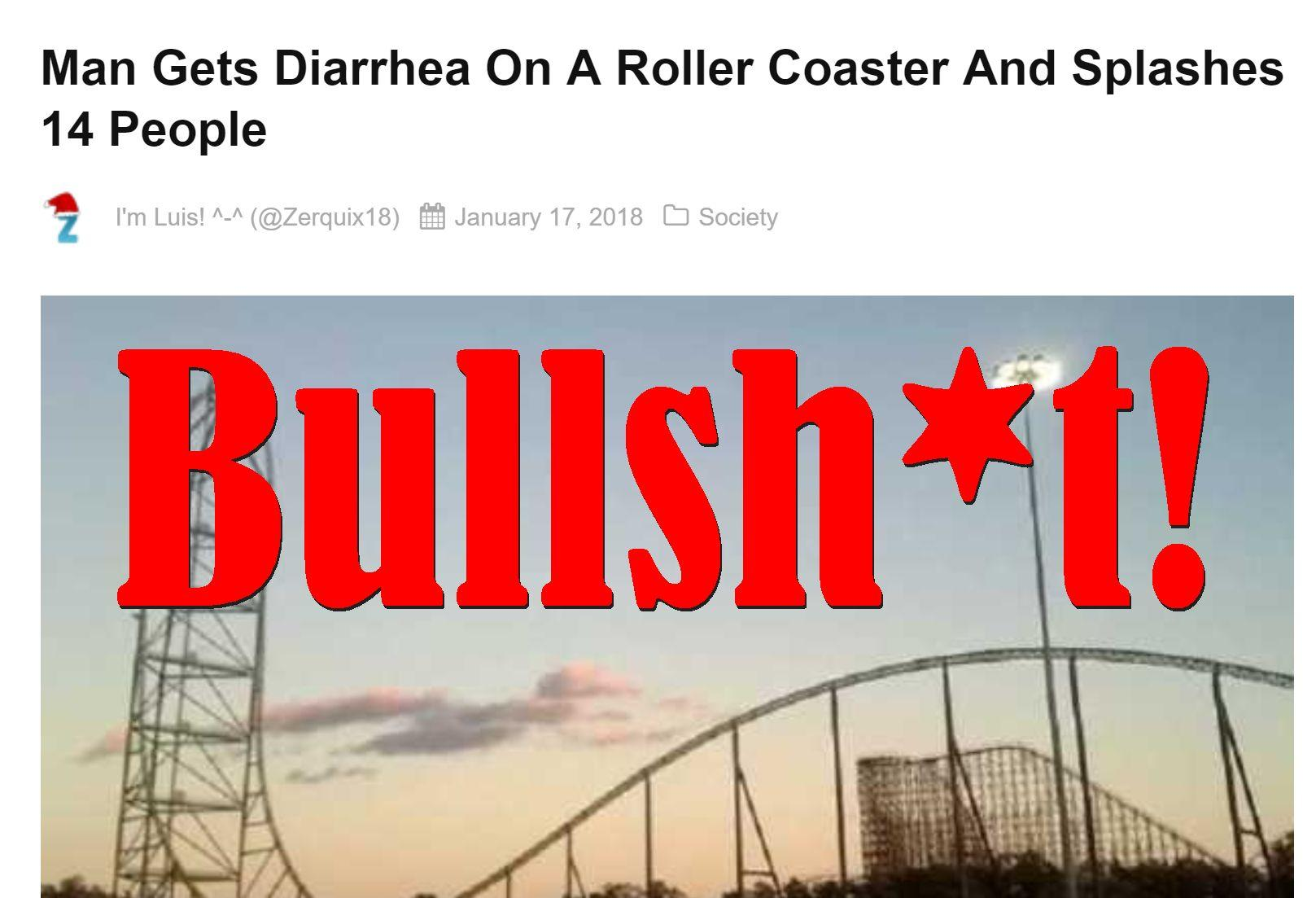 Fake News: Man Did NOT Get Diarrhea On A Roller Coaster And Did NOT Splash 14 People