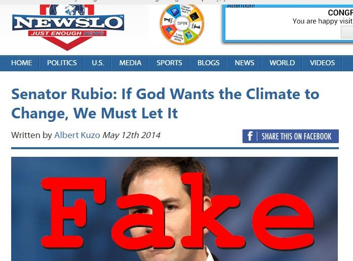 Fake News: Senator Rubio Did NOT Say If God Wants the Climate to Change We Must Let It