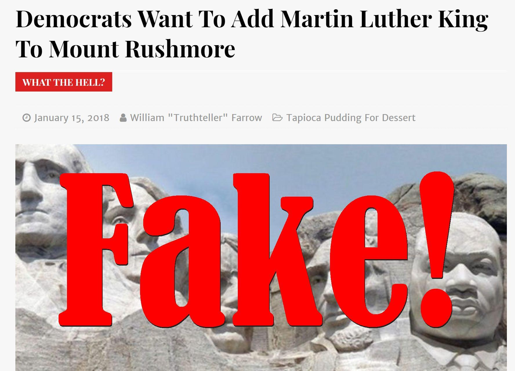 Fake News: Democrats Do NOT Want To Add Martin Luther King To Mount Rushmore