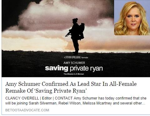 Fake News: Amy Schumer NOT Confirmed As Lead Star In All-Female Remake Of 'Saving Private Ryan'