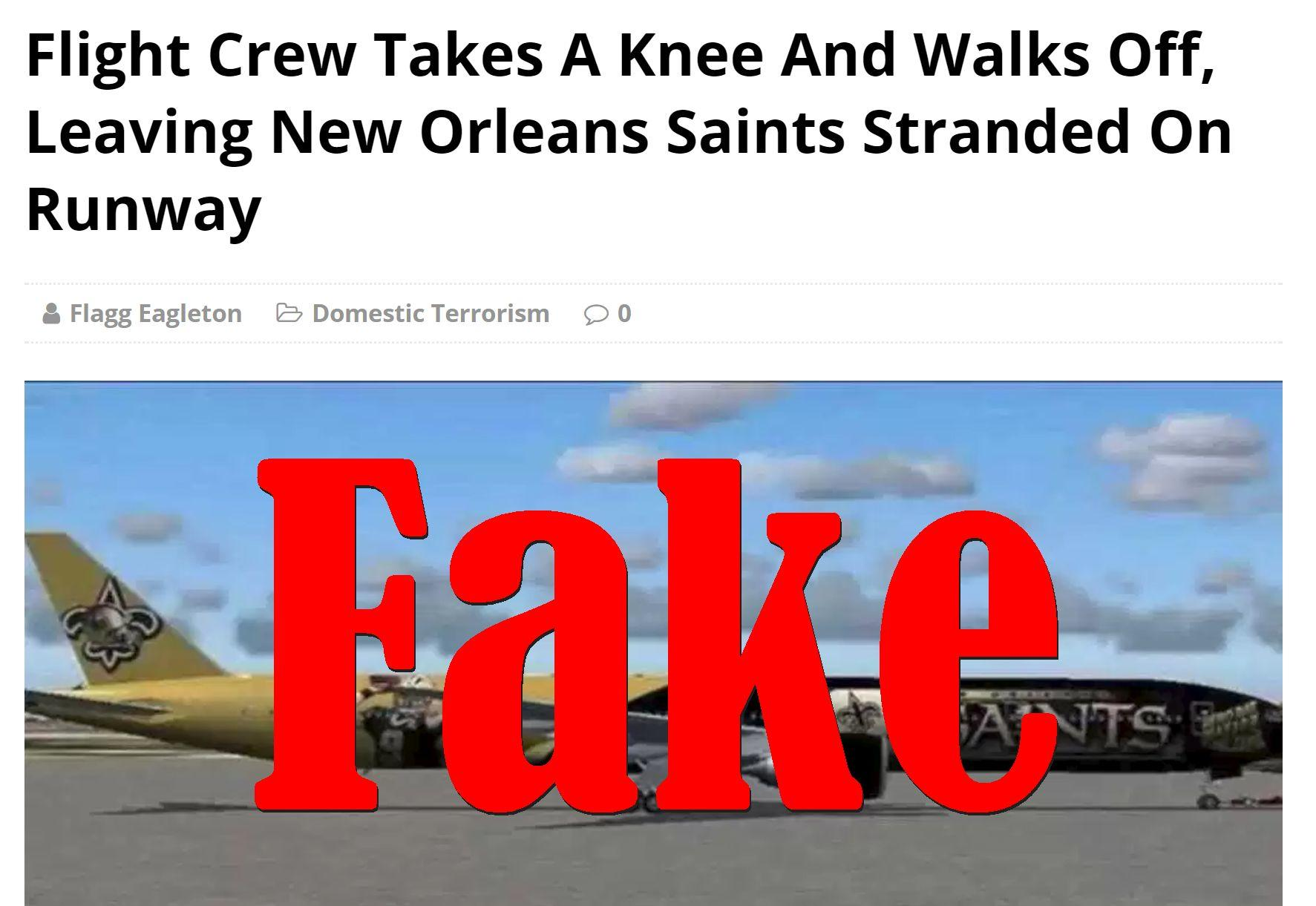 Fake News: Flight Crew Did NOT Take A Knee Leaving New Orleans Saints Stranded On Runway
