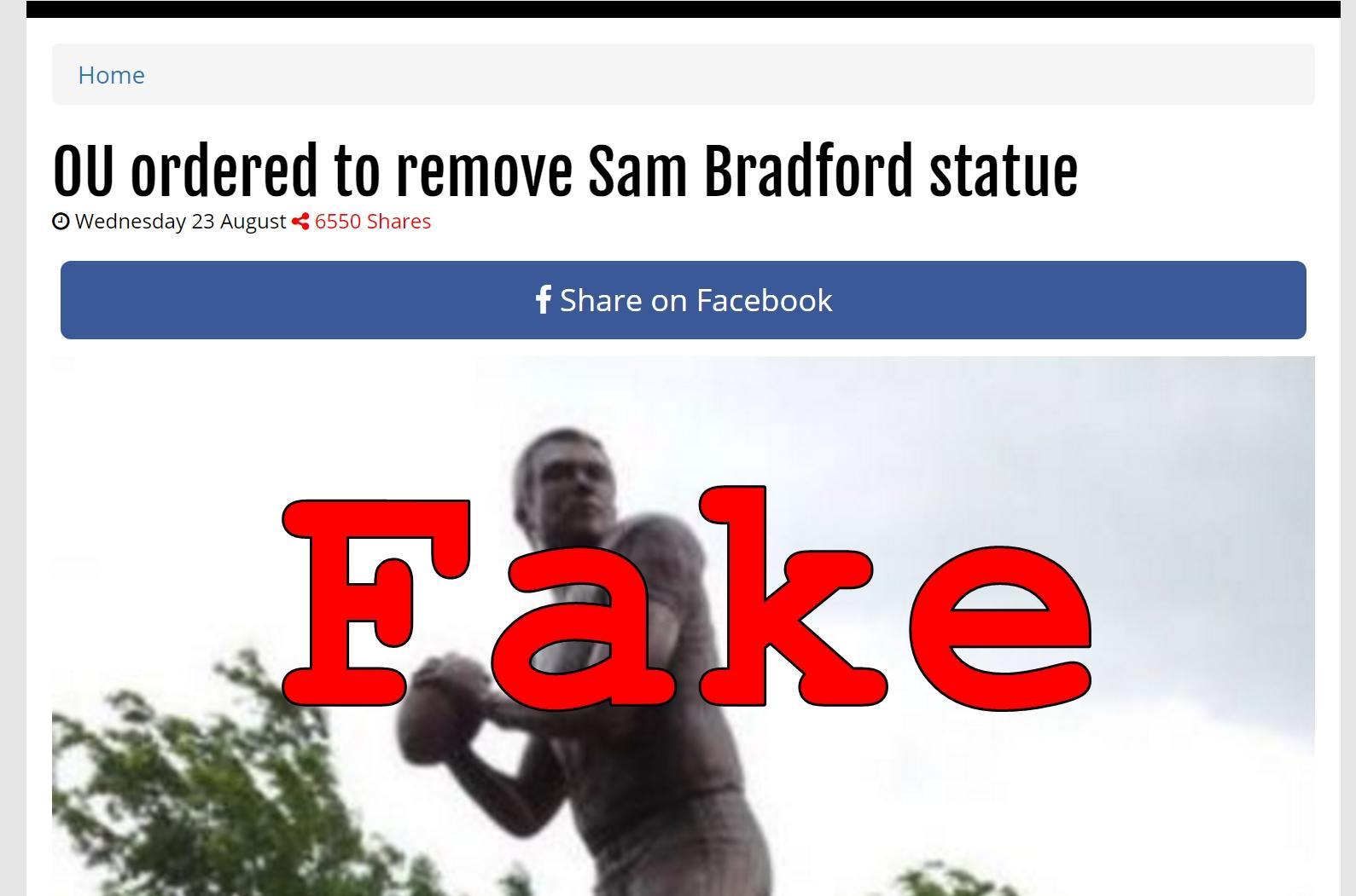 Fake News: University Of Oklahoma NOT Ordered To Remove Sam Bradford Statue