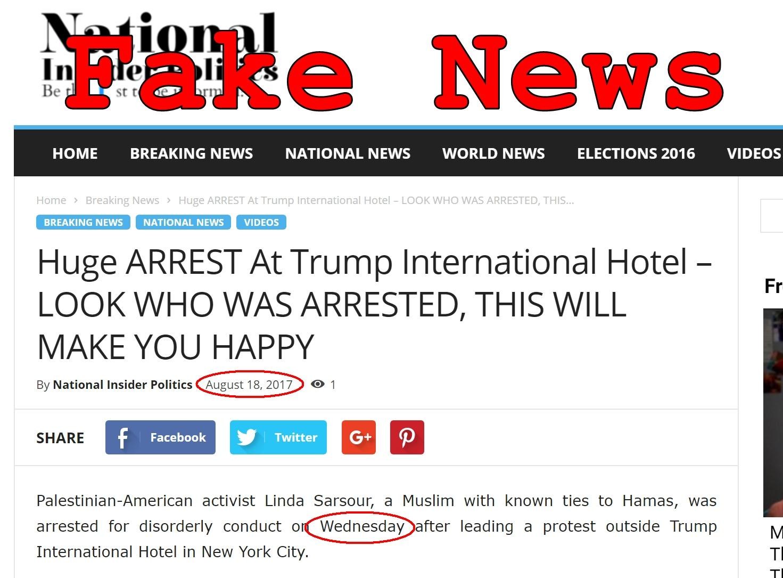 Fake News: Linda Sarsour NOT Arrested (Again) At Trump International Hotel
