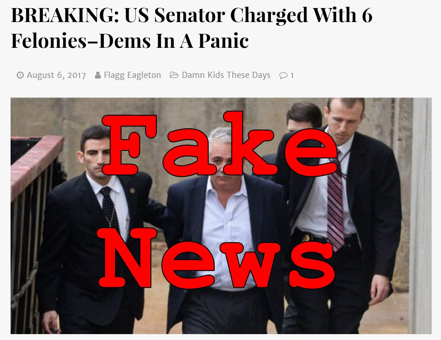 Fake News: US Senator NOT Charged With 6 Felonies