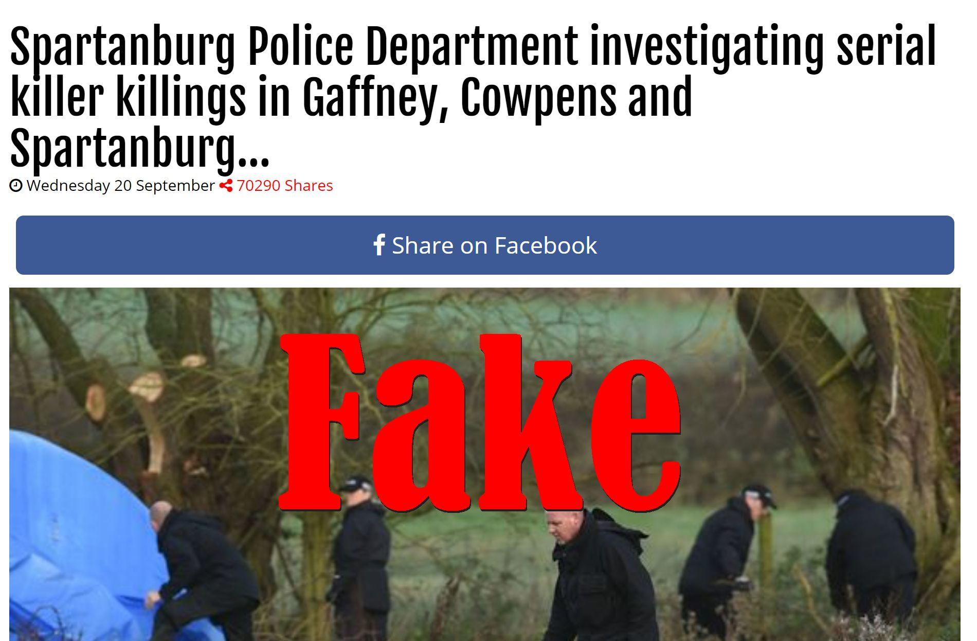 Fake News: Spartanburg Police Department NOT Investigating Serial Killer Killings In Gaffney, Cowpens and Spartanburg