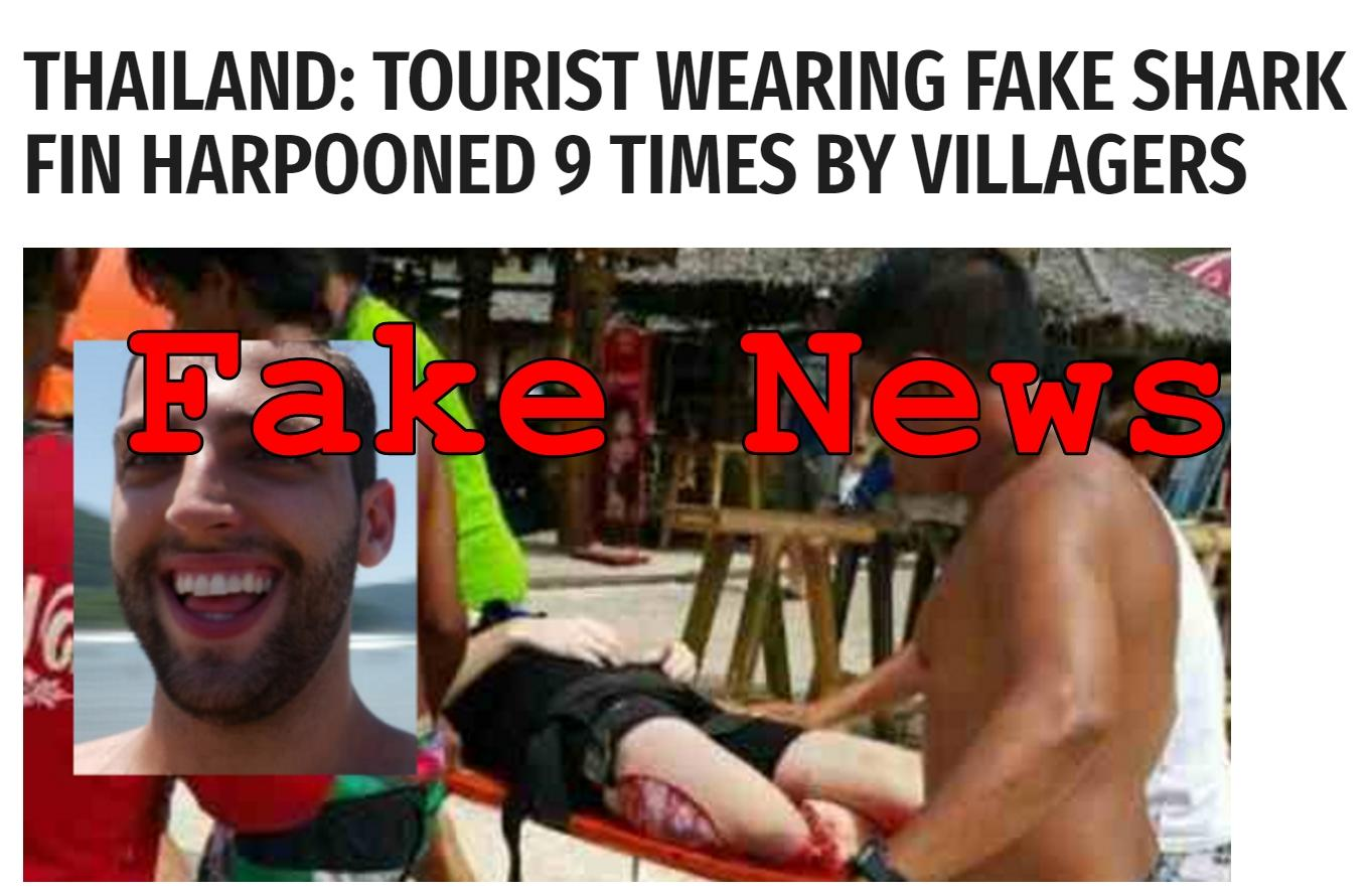 Fake News: Tourist Wearing Fake Shark Fin NOT Harpooned 9 Times by Villagers in Thailand