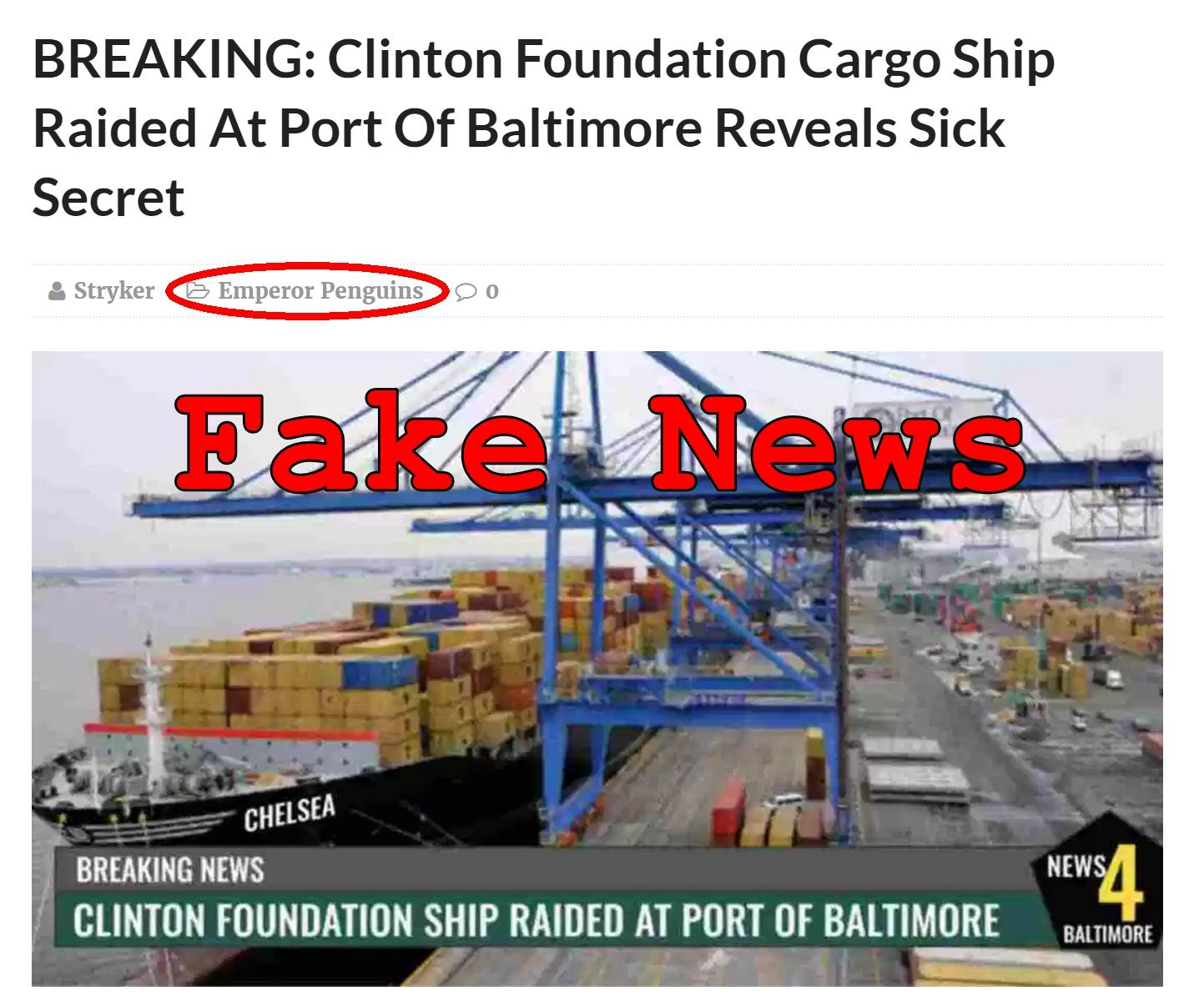 Fake News: NO Clinton Foundation Cargo Ship Raided At Port Of Baltimore