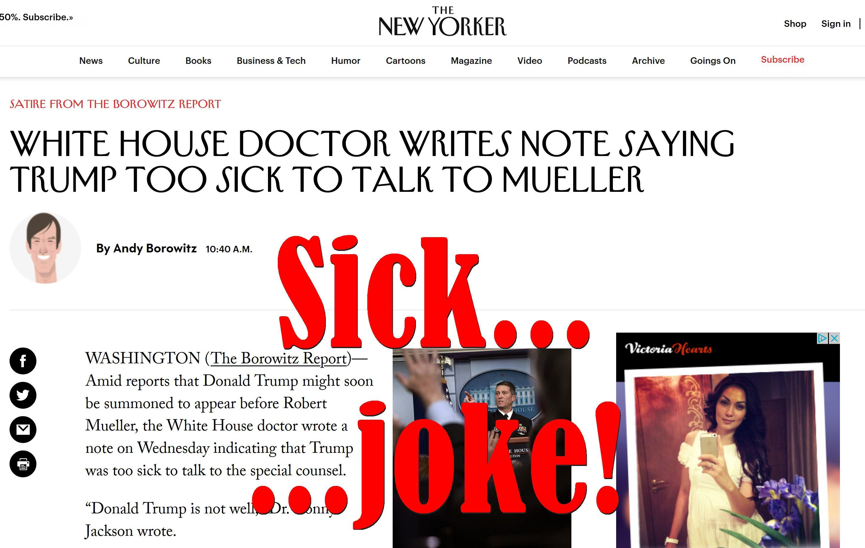 Fake News: White House Doctor Did NOT Write Note Saying Trump Too Sick to Talk to Mueller