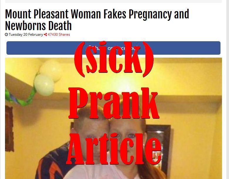 Fake News: Mount Pleasant Woman Did NOT Fake Pregnancy and Newborns Death