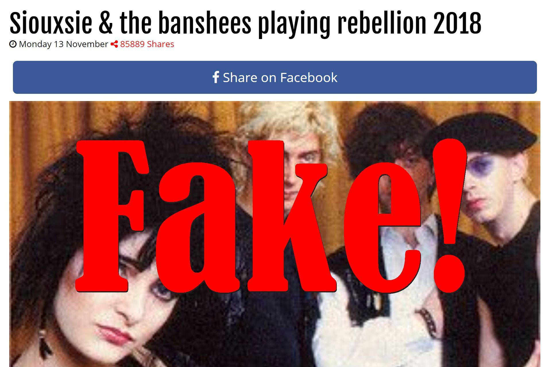 Fake News: Siouxsie & The Banshees NOT Playing Rebellion 2018