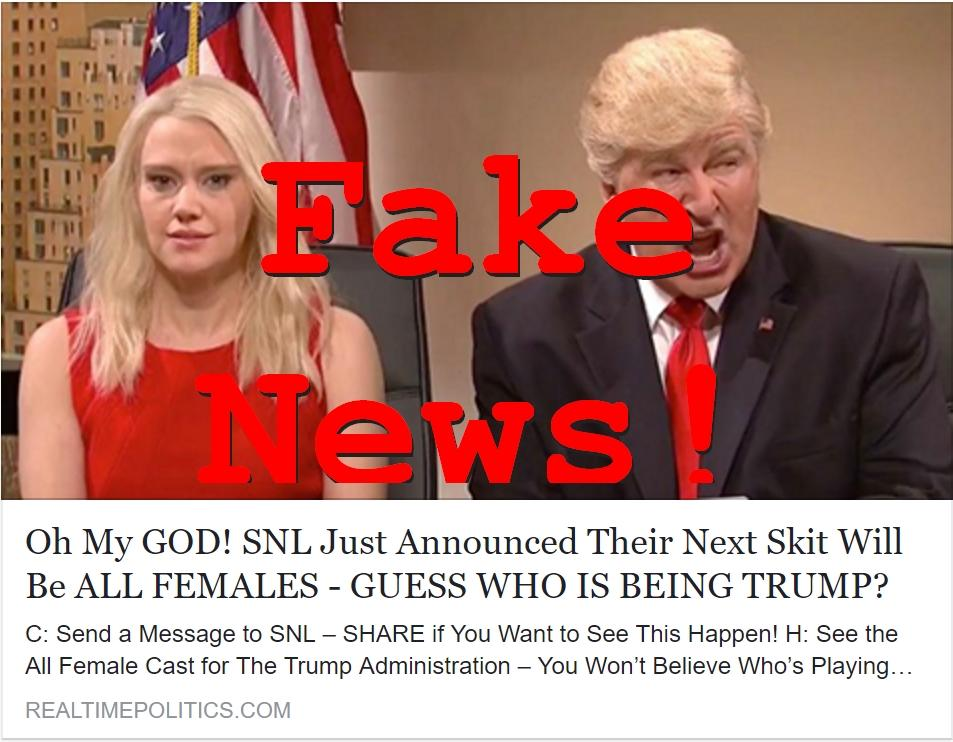 Fake News: SNL Did NOT Announce Their Next Trump Skit Will Be All Females